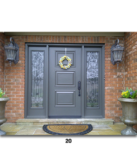 grey door with decor