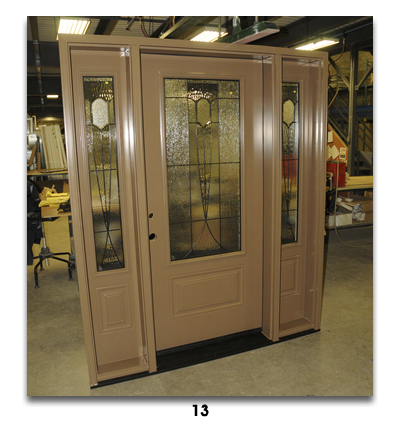 light brown door with glass