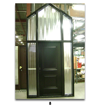 brown door with triangle top area